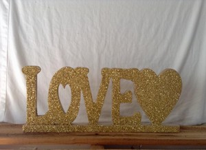 Gold Glitter Love Sign (rustic Vintage Chic)
