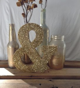 Gold Glitter & Sign (rustic Vintage Chic)
