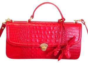Brahmin Satchel in Zinnia Red