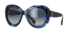 Chanel 5323 Signature Butterfly Square Blue CC Oversized Mosaic Jeweled