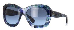 Chanel 5324 Signature Butterfly Square Blue CC Oversized Mosaic Jeweled