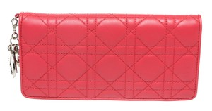 Dior Christian Dior Pink Quilted Leather Wallet