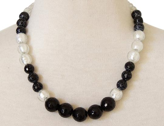 Handmade One of a kind Black & White Onyx Agate strand silver foild glass statement necklace
