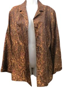 Chico's Shimmer Lightweight Paisley GOLD Jacket