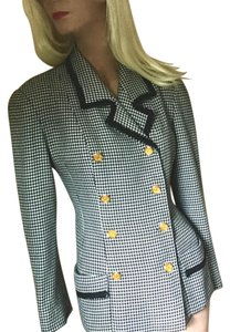 ER Italian Silk Military Houndstooth Fitted Military Jacket