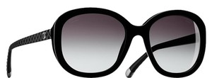 Chanel 5328 CC Logo Black Oval Quilted Quilting Oversized Classic Polarized