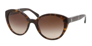 Chanel 5252 Q CC Logo Cat Eye Patent Leather Butterfly Cateye Tortoise Brown