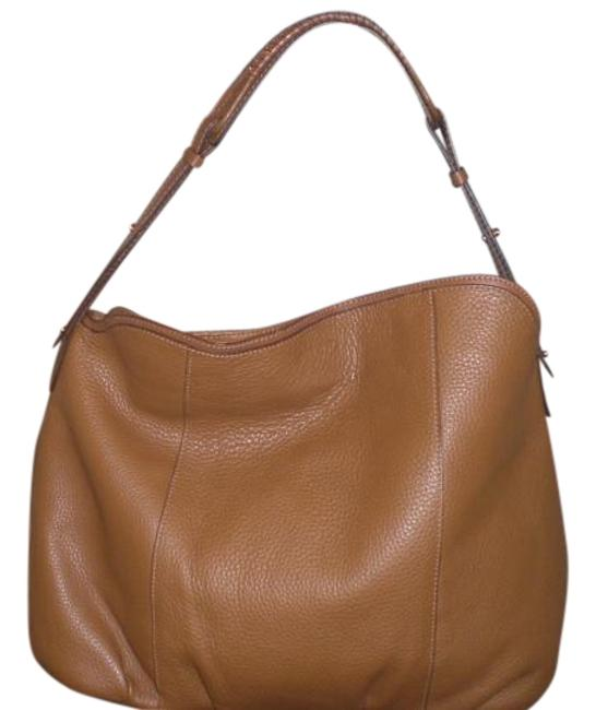 Item - XL Hobo/Satchel with Gold Chain Accent On The Strap Brown Pebble Leather Hobo Bag