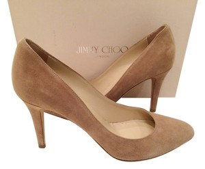 Jimmy Choo Beige Comfortable Heel Nude Suede Pumps