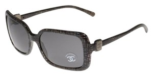 Chanel 5175 Grey Tweed CC Logo Oversized Monochrome Colorblock Square