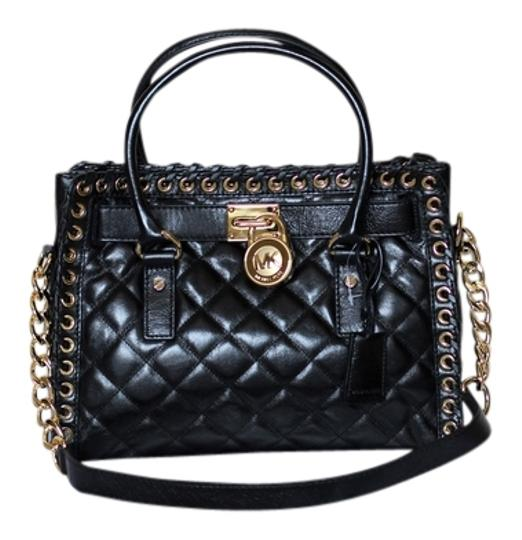 MICHAEL Michael Kors Quilted Leather Removable Strap Gold Hardware Logo Charm Satchel in Black