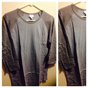 LuLaRoe T Shirt Powder blue/gray sleeves