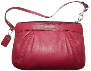 Coach New Rare Leather Wristlet in Oxblood Beet Red