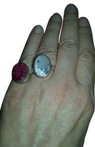 Other A sterling purple stone ring with white stone ring