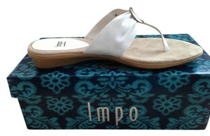 Impo And Silver Thongs Comfortable White Sandals
