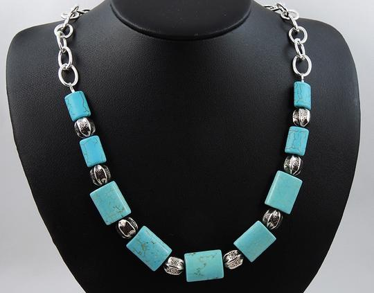 Handmade One of a kind Handmade Southwestern Turquoise Pewter Beaded Chain Necklace