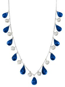 LoveBrightJewelry 40 Carat Blue Sapphire Teardrop Necklace with Cultured Pearl Set