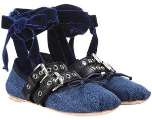 Miu Miu Lace-up Ballerina Denim Flats
