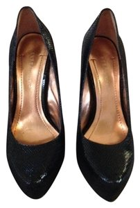 BCBGeneration Snakeskin Hidden Platform Stiletto Black Pumps