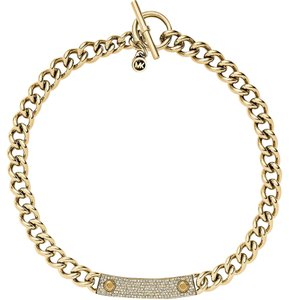 Michael Kors Michael Kors Gold Chain MK Logo Plaque Toggle Necklace MKJ3555