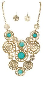 Rain Jewelry Collection Gold Turquoise Bib Necklace