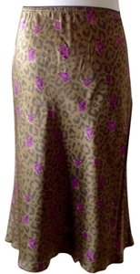 Tulip Shape Silk Skirt Brown/Violet