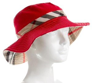 Burberry Red woven Burberry Nova check print oversized hat S Small