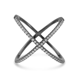 La Bella Rose Black Cobalt Plated Sterling Silver CZ Criss Cross X Ring - 83570