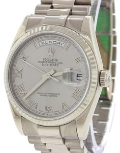 Rolex Rolex Day Date 18k White Gold President Rhodium 118206 118209 Watch