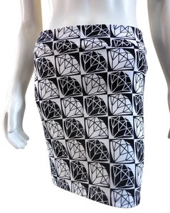 Nanette Lepore Mod Pencil 7491 Mini Skirt black white