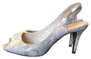 Talbots Reptile Bridal Special Occasion Peep Toe Python Cocoa, gray and cream Pumps