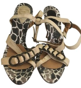 Just Cavalli Sexy Rocker Chick Giraffe Print Ankle Strap Stacked Wooden Heel Neutral beige Sandals