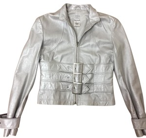 Hervé Leger Gray metallic Leather Jacket