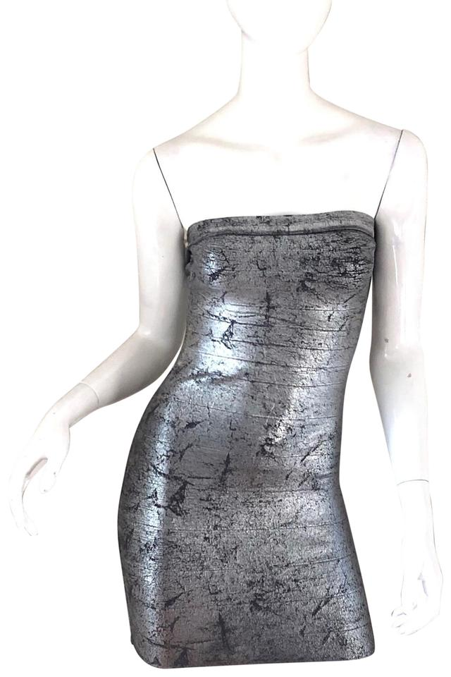4495a80d44 Guess By Marciano Silver Sleeveless Bandage Short Night Out Dress ...