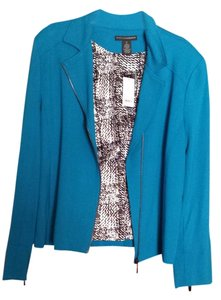 Grace Elements Zippers Knit Stretch Lined Peacock Blue Blazer