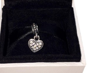 PANDORA Authentic Pandora Clear Pave Heart Dangle Silver CZ Charm 791023CZ
