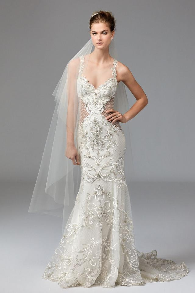 Watters Ivory Oyster Lace Marion 1045m Formal Wedding Dress Size 8 M