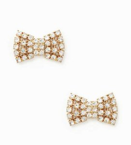 Kate Spade NWT KATE SPADE SPARKLING BOW STUDS EARRINGS W DUST BAG GOLD CLEAR