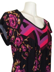 Kimchi Blue Tunic Patchwork Top black, red, purple