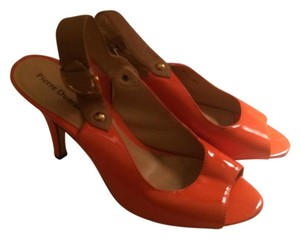 Pierre Dumas Open Toe Slingback Patent Leather Orange & Tan Sandals