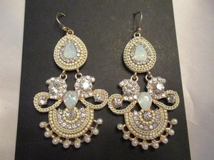 Gorgeous Crystals Opal Gems & Pearls Statement Chandeliers Bridal Earrings