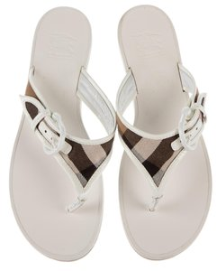 Burberry Ankle Strap Nova Check Plaid Patent Silver Hardware White, Beige, Black Sandals