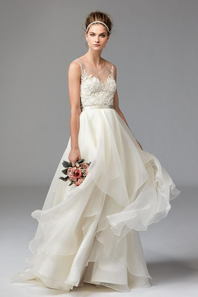 Watters Ivory/Oyster Dianthus Top Feminine Wedding Dress Size 8 (M ...