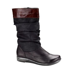 Naot Tar Black/Jet Black Leather/Luggage Brown Leather Boots