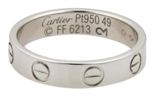 Cartier Cartier Mini Love Platinum 3.5mm Wide Band Ring Eu 49 -