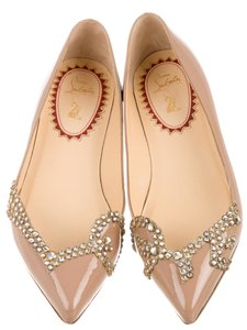 Christian Louboutin Crystal Embellished Pointed Toe Patent Leather Pigalove Beige, Gold Flats