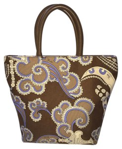 Emilio Pucci Paisley Leather Canvas Tote in Lavender, Chocolate, Taupe and Cream