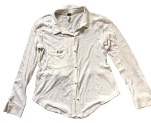 Free People Light Weight Linen Cotton Button Down Shirt White
