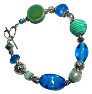Other New Glass Bracelet Blue Green Silver J2962