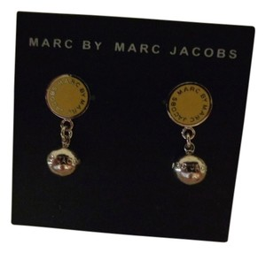 Marc by Marc Jacobs Marc by Marc Jacobs Disc Logo & Ball Drop Earrings, Silver/Yellow New
